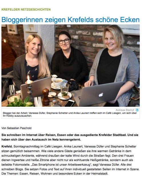 Bloggerinnen zeigen Krefelds schöne Ecken, Westdeutsche Zeitung, Liesgen, Blog, Krefeld, WZ, nikesherztanzt