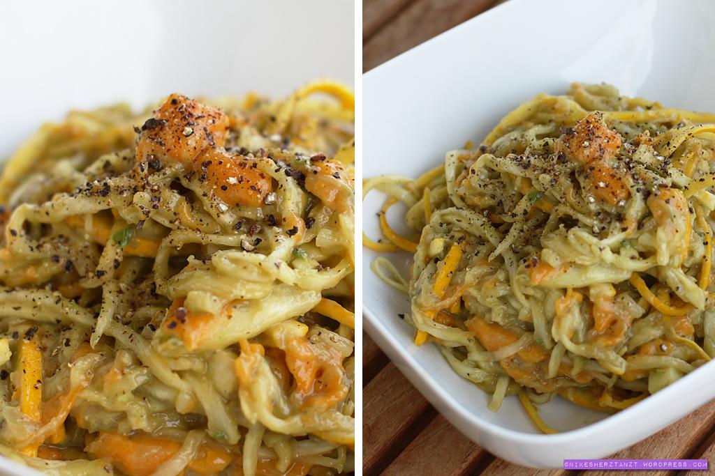 zucchini-spaghetti mit avocado-miso sauce