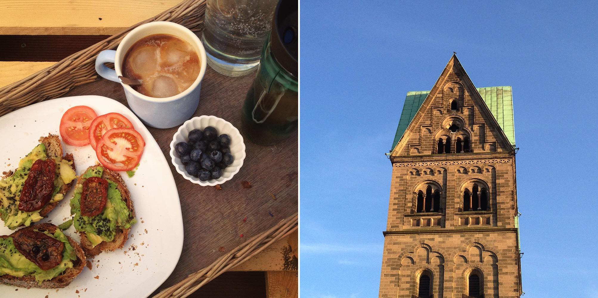 frühstück. auf dem sonnendeck, himmelblau, sommer ist, avocado, kalter kaffee, blaubeeren