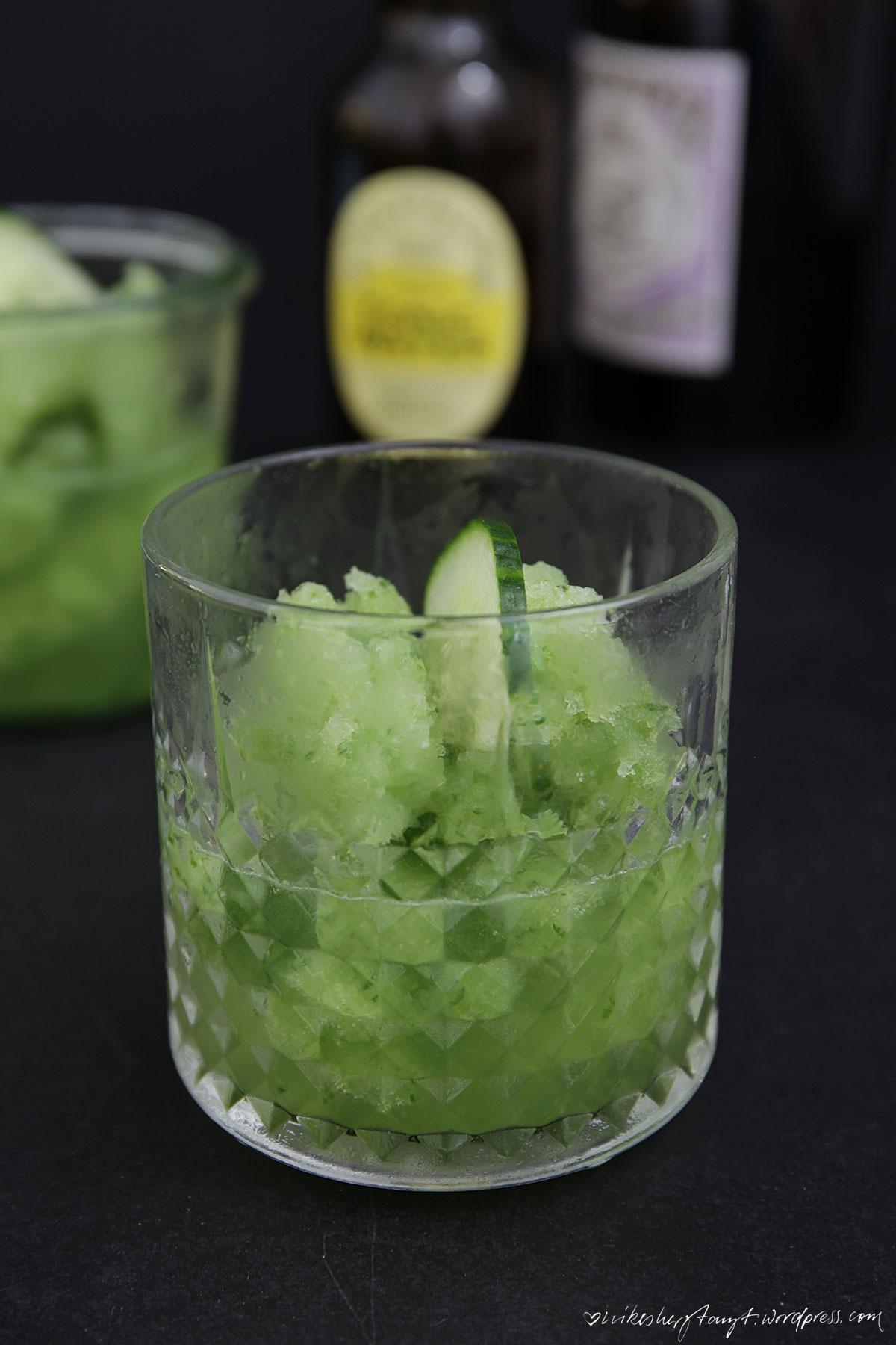 gin tonic cucumber slush, gin und tonic, gin and tonic, gurke, cucumber, frozen, drink, nikesherztanzt