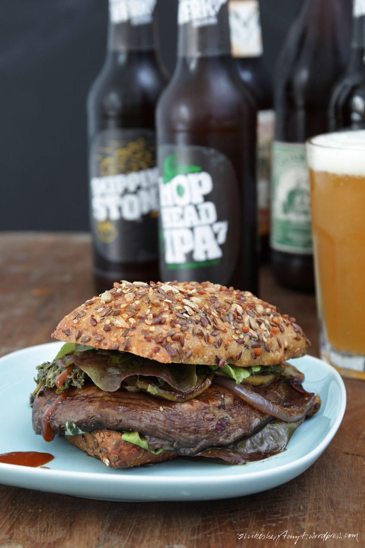 portobello, pilz, burger, salat, birne, craft, bier, beer, nikesherztanzt