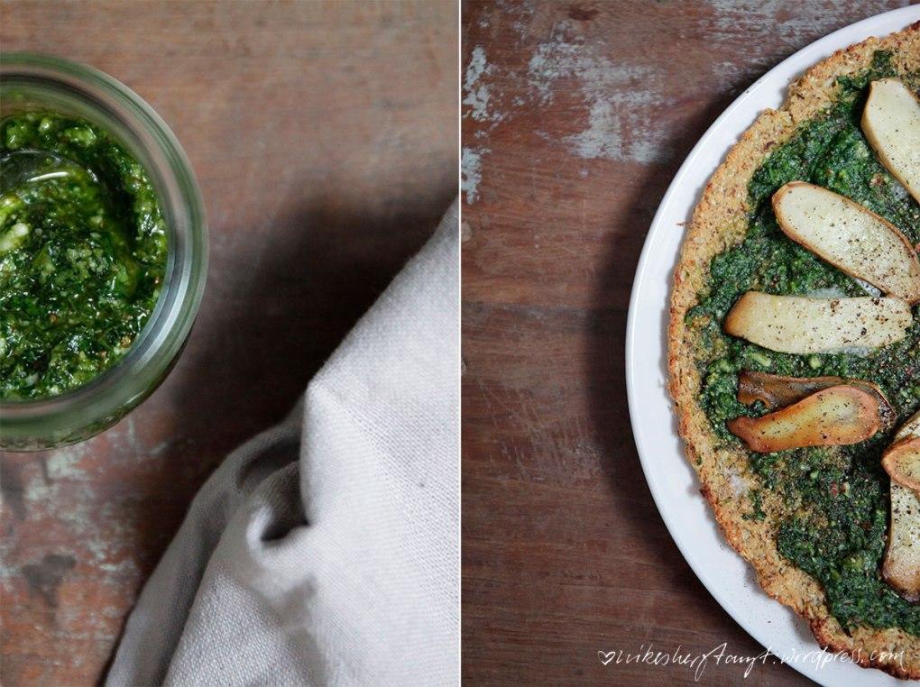 pizza mit blumenkohlboden. korianderpesto, kräuterseitlingen, veggie, cleaneating, #eattrainlove, nikesherztanzt